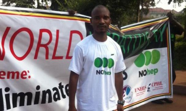 A picture of Arafat Bwambale at an awareness raising walk