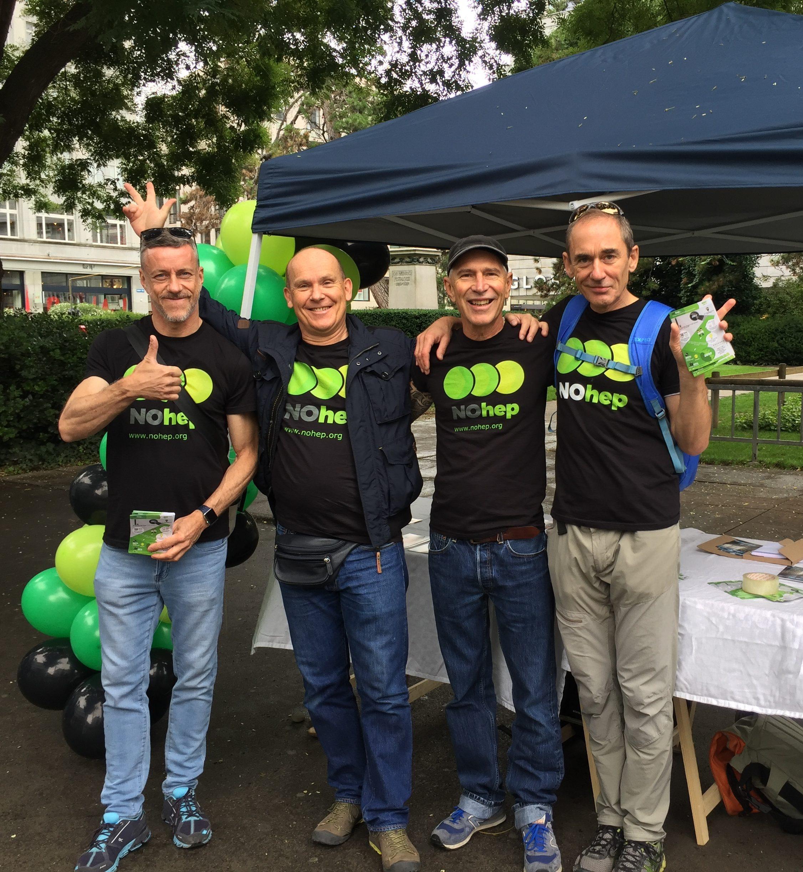 A group of men wearing NOhep t-shirts